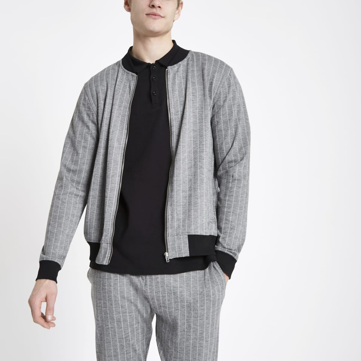 Grey pinstripe slim fit bomber jacket