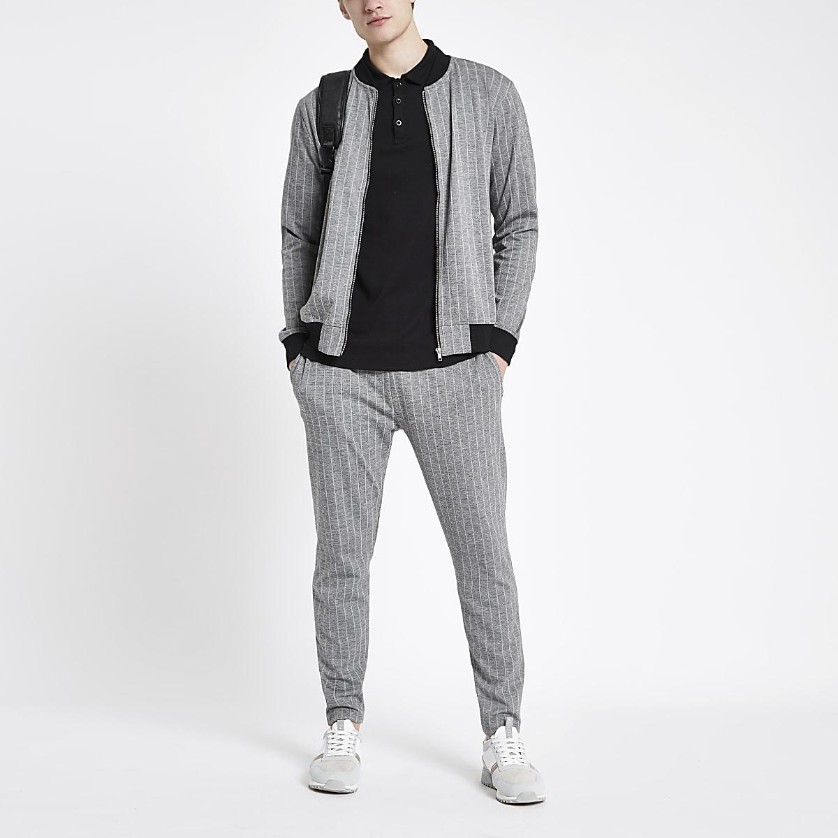 2b9a6b71e Grey pinstripe slim fit bomber jacket