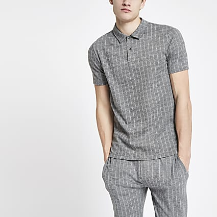 Grey slim fit pinstripe polo shirt