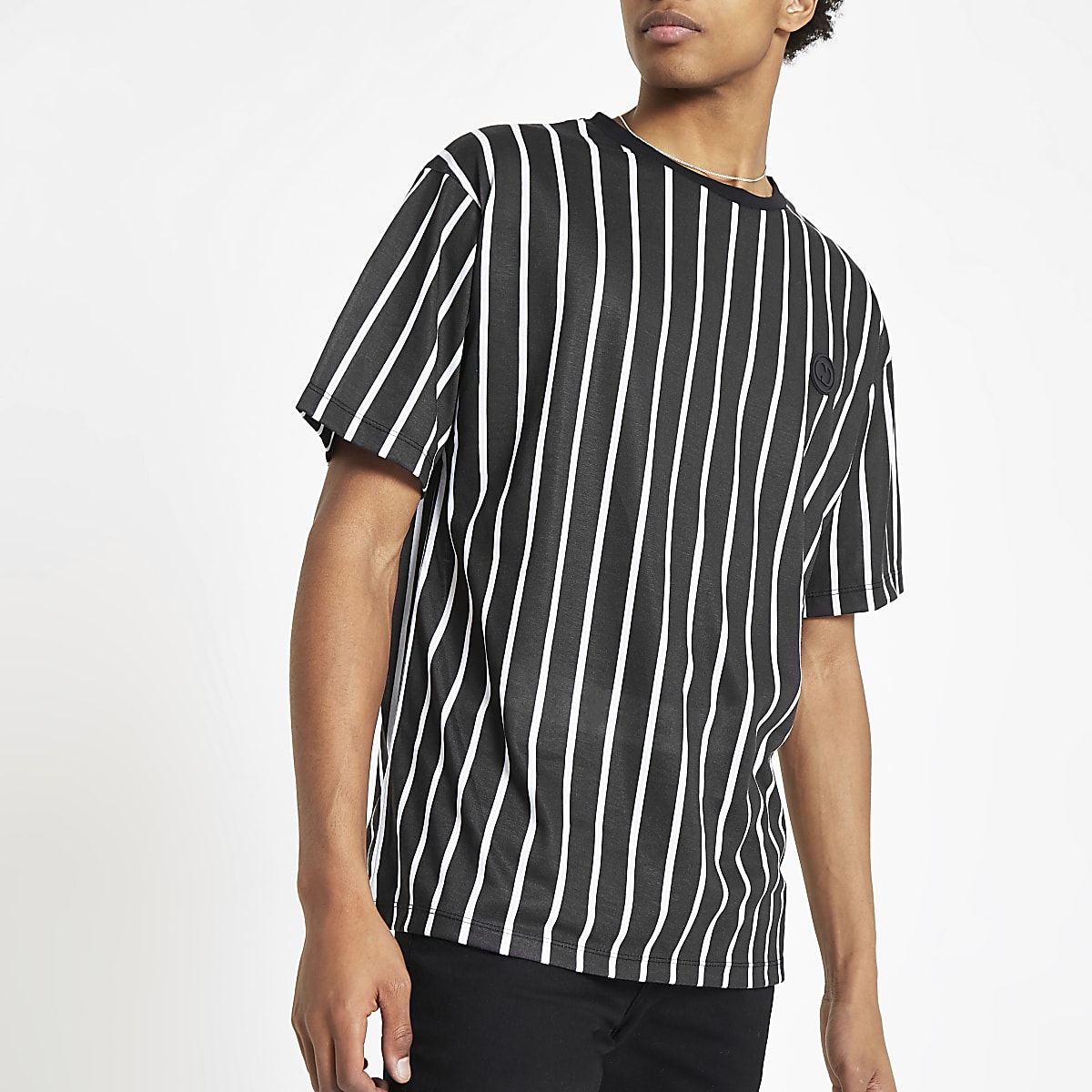 Criminal Damage black pinstripe T-shirt
