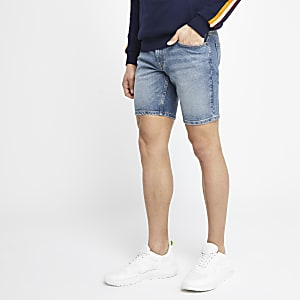Dylan - Middenblauwe slim-fit denim short