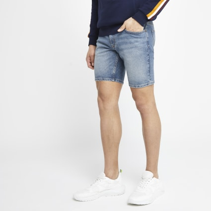 Mid blue Dylan slim fit denim shorts
