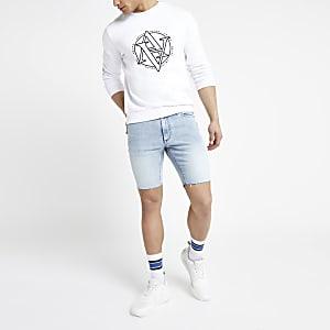 Sid – Short skinny bleu clair usé