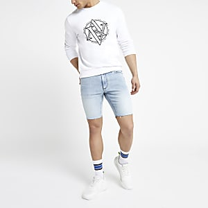 Sid - Lichtblauwe distressed skinny short