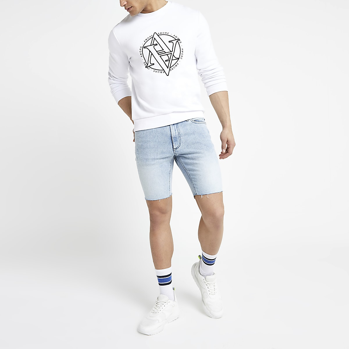 Light blue Sid distressed skinny shorts