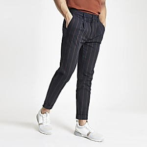 Navy slim fit stripe pants