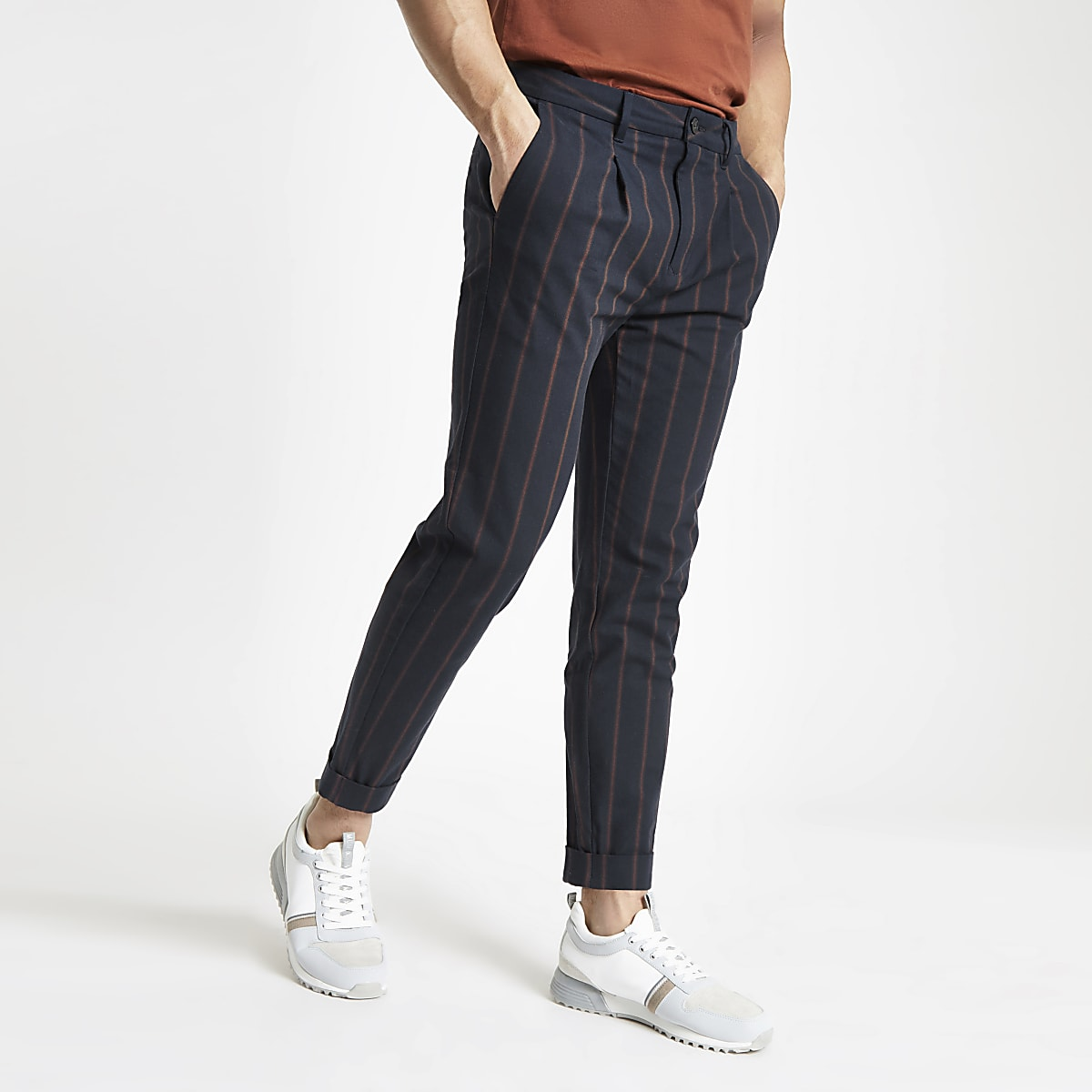 Navy slim fit stripe trousers