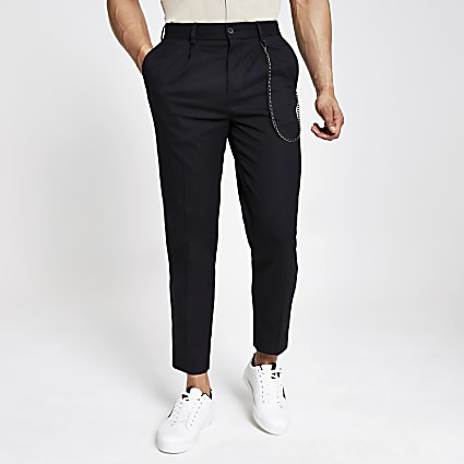 Black skinny tapered trousers