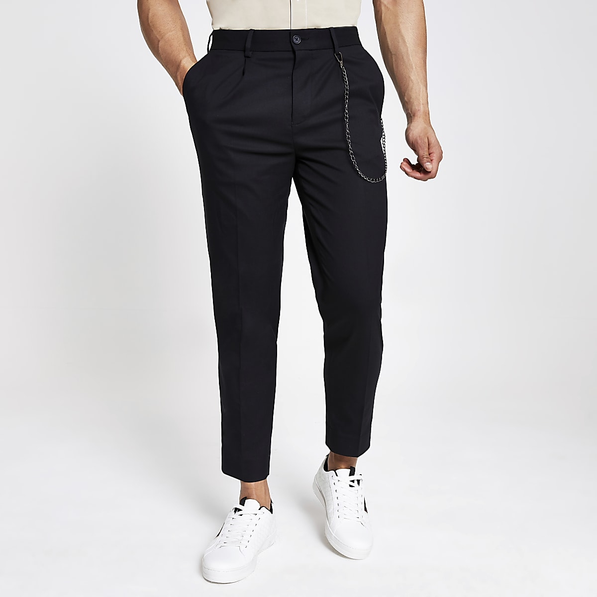 Black skinny tapered pants
