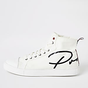 White 'Prolific' canvas high top trainers