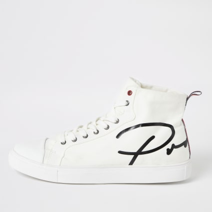 White Prolific canvas high top trainers