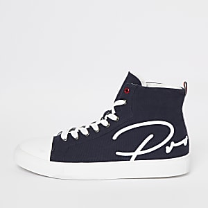 Navy 'Prolific' high top canvas shoes
