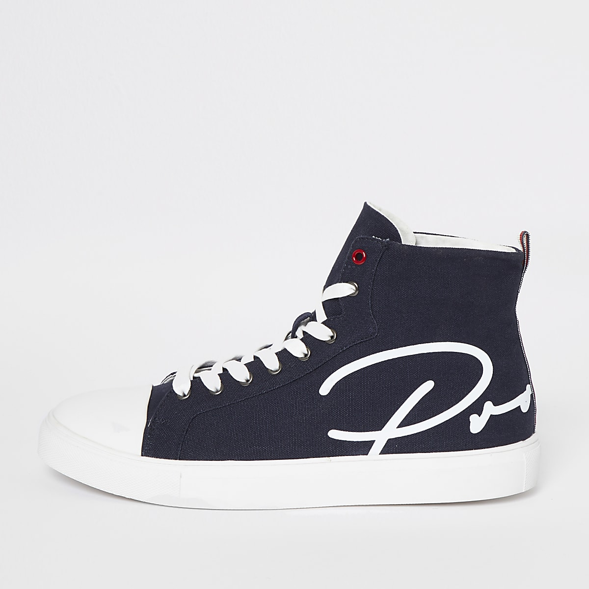 Navy Prolific high top canvas trainers