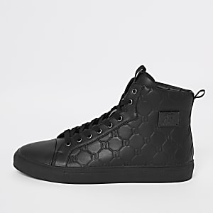Black RI monogram high top sneakers