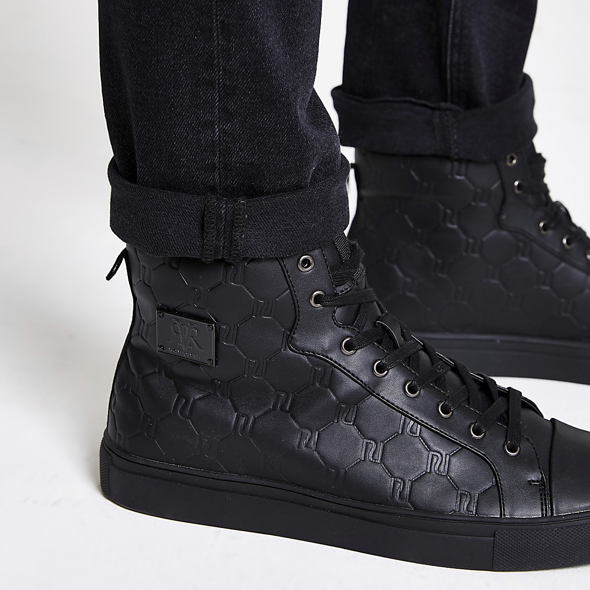 b60a8d2b5 Black RI monogram high top trainers - Trainers - Shoes   Boots - men