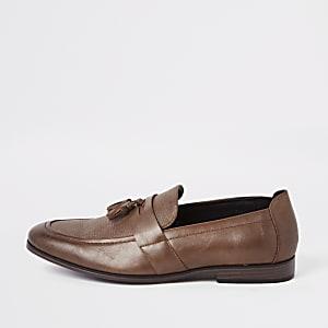 Bruine loafers met kwastjes voor