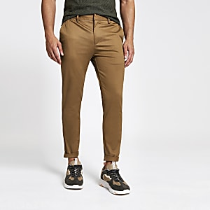Light brown skinny fit cropped chino trousers