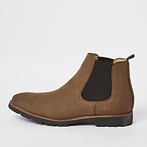 Braune Chelsea-Stiefel aus Wildlederimitat