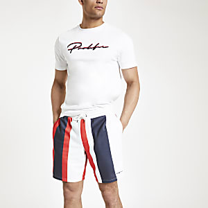 Rode slim-fit gestreepte jersey short met 'Prolific'-print