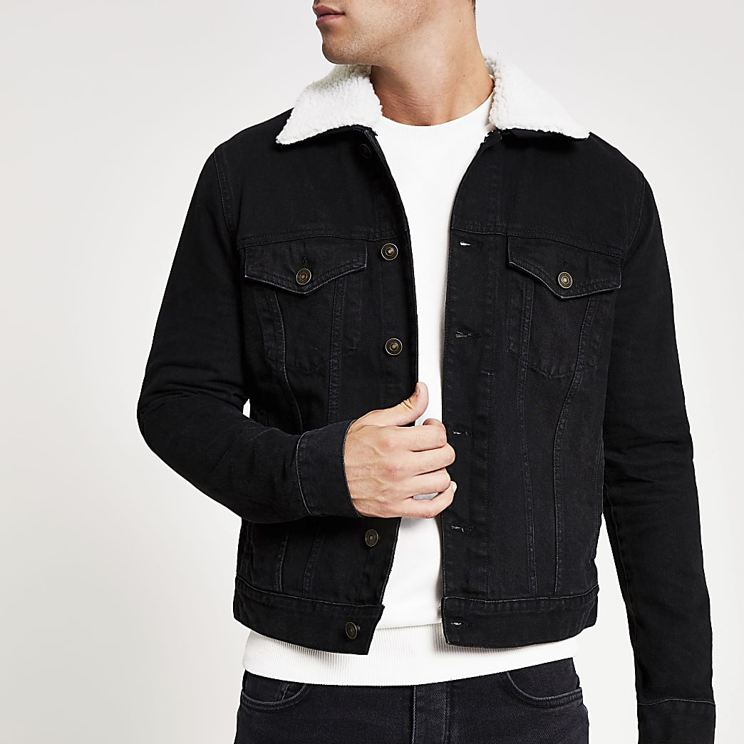 Black fleece borg collar trim denim jacket