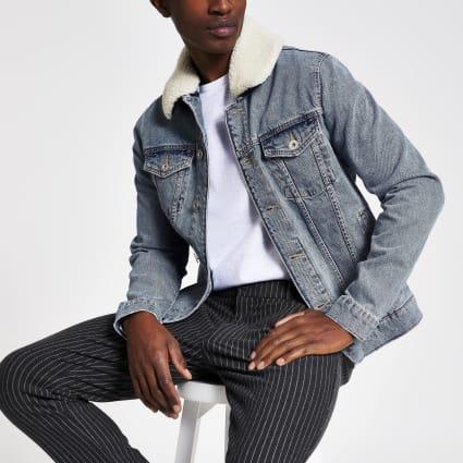 Blue borg collar trim denim jacket