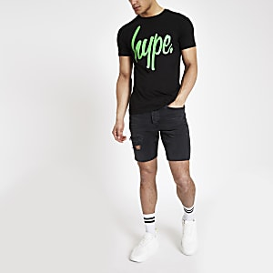 Hype - Zwart T-shirt met neon logoprint