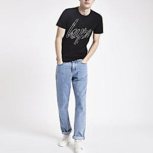 Hype – Schwarzes T-Shirt mit Logoprint