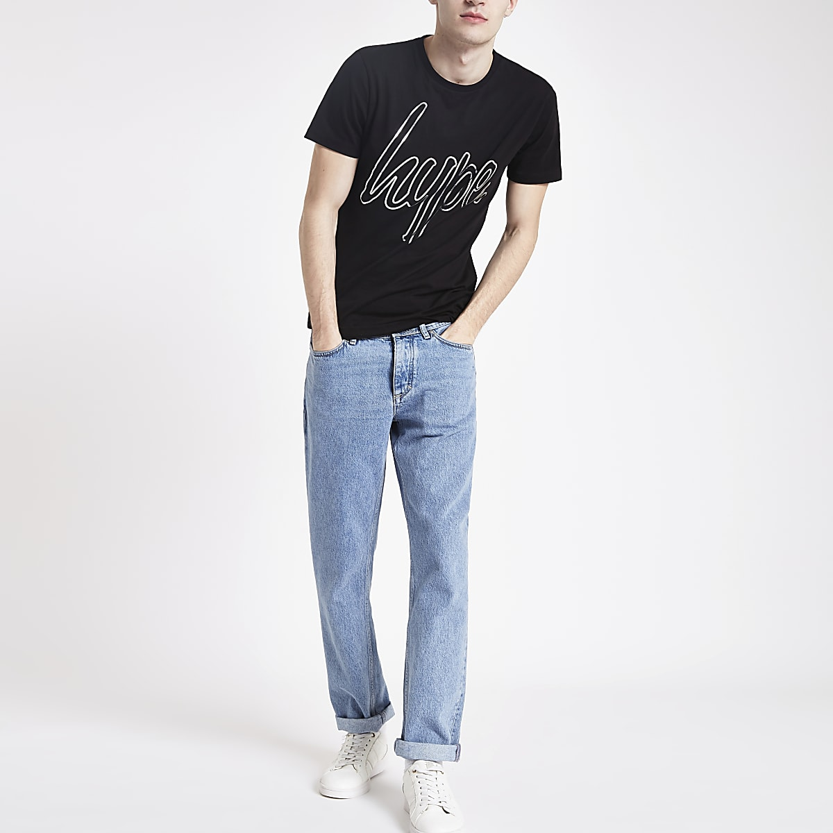 Hype black logo print T-shirt