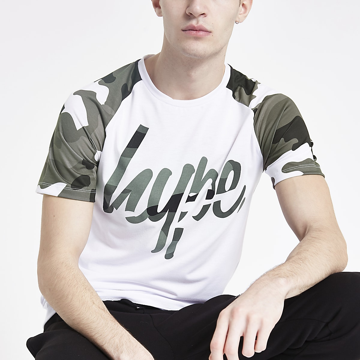 Hype white camo raglan print T-shirt