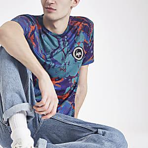 Hype - Blauw T-shirt met marmerprint