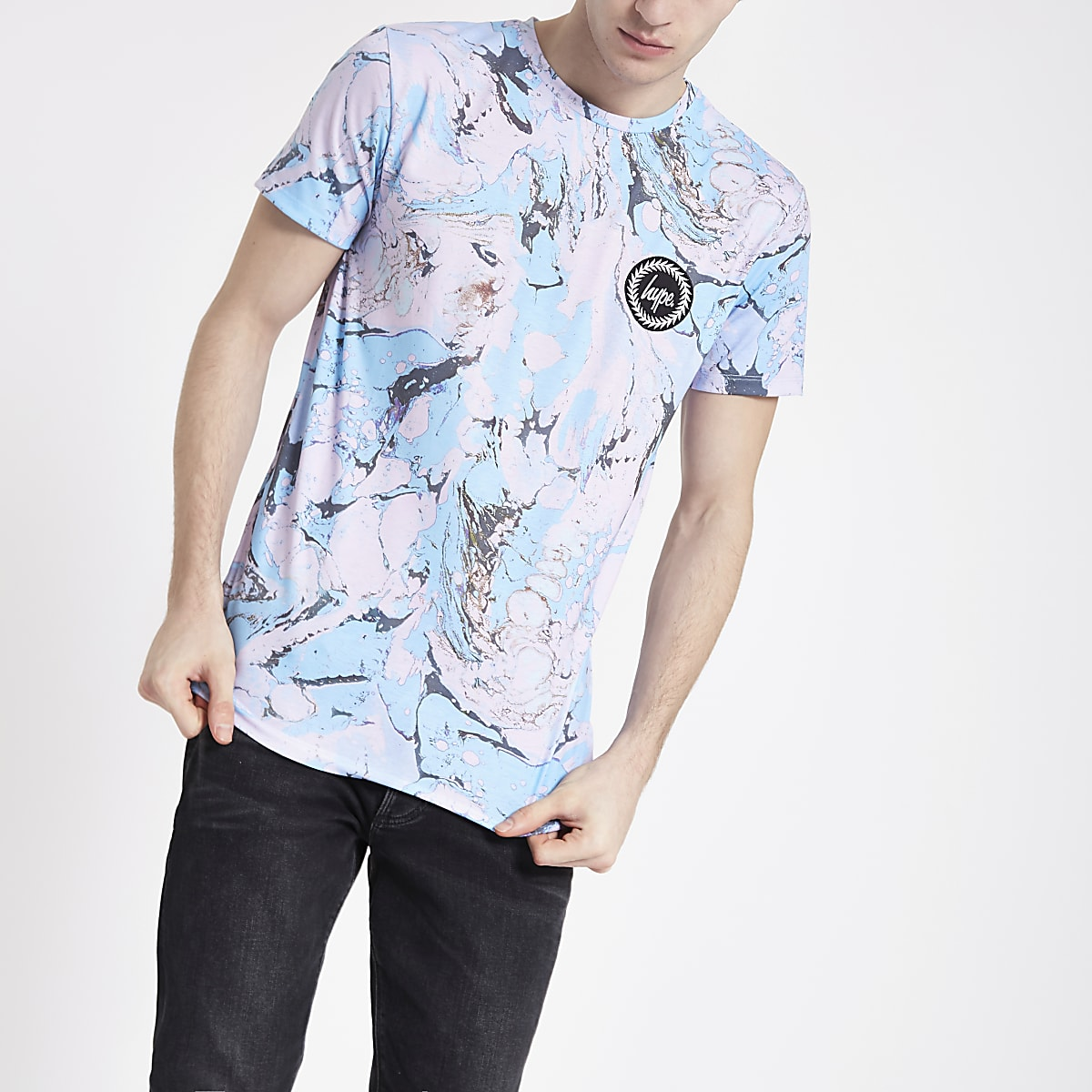 Hype light blue marble print T-shirt