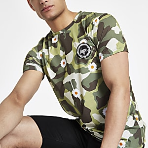 Hype - Groen T-shirt met camouflage- en madeliefjesprint