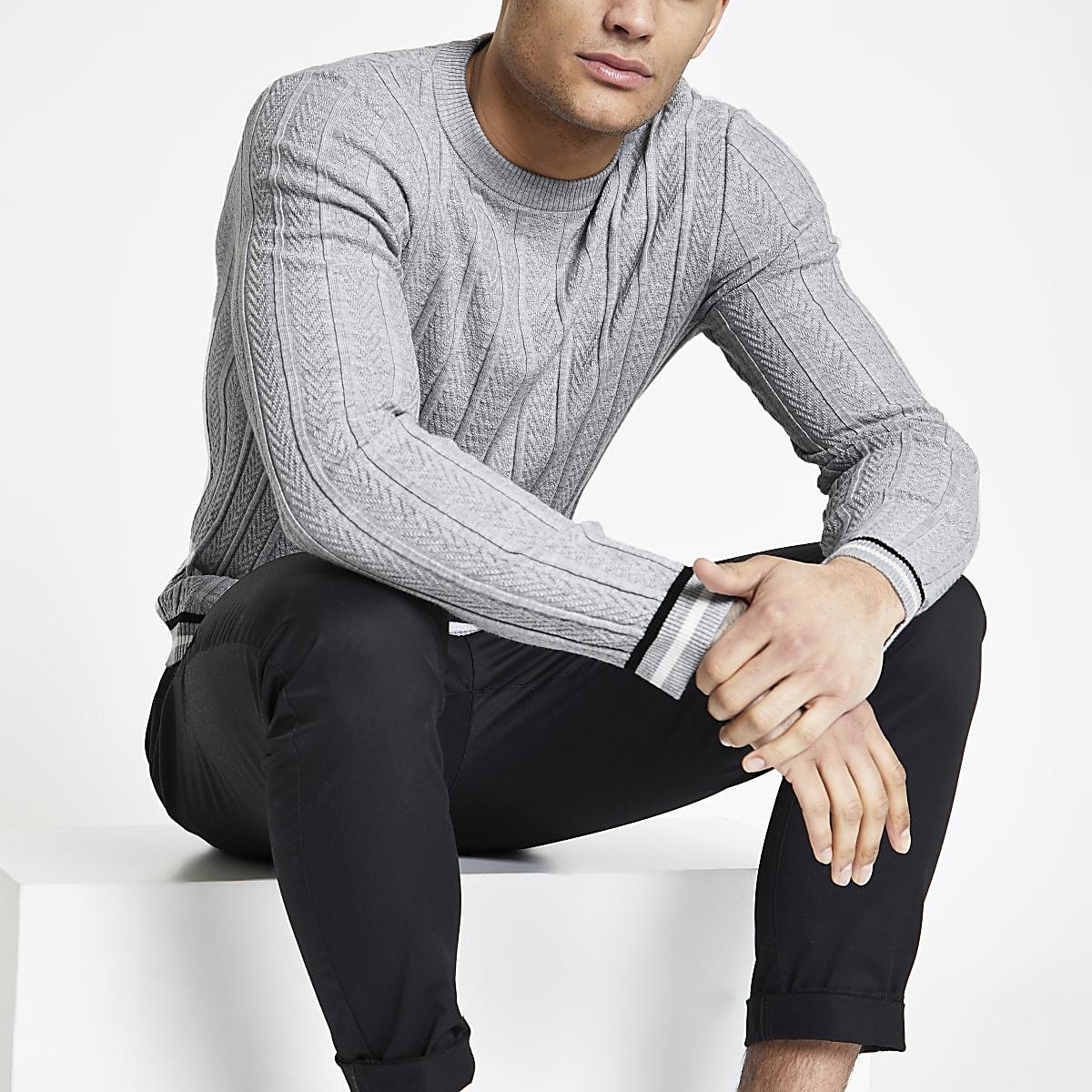 Grey chevron stitch muscle fit sweater