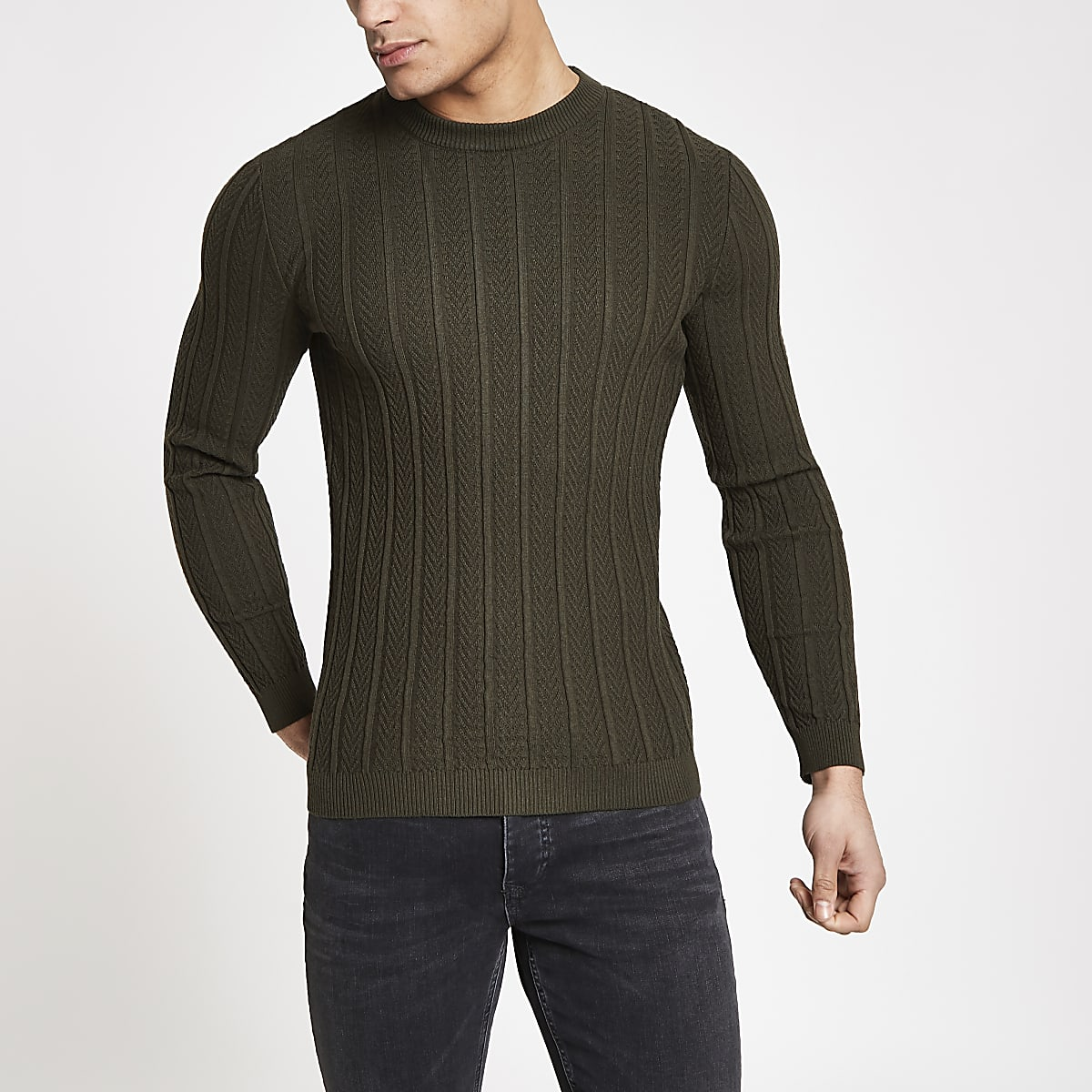 Khaki chevron stitch muscle fit jumper