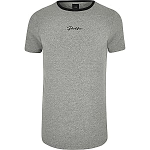 Big and Tall grey 'Prolific' curve T-shirt