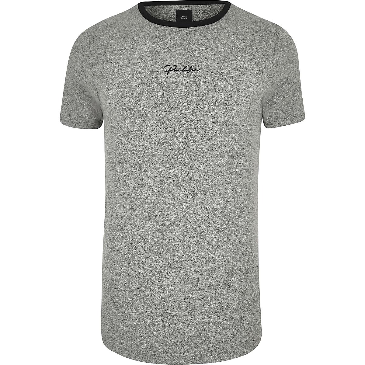 Big and Tall - Grijs T-shirt met ronde zoom en 'Prolific'-print