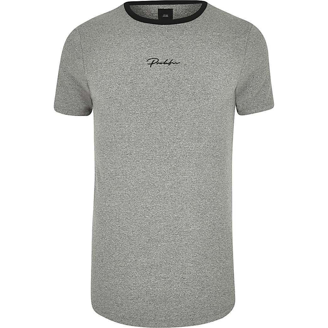 Big and Tall - Prolific - Grijs T-shirt met ronde zoom