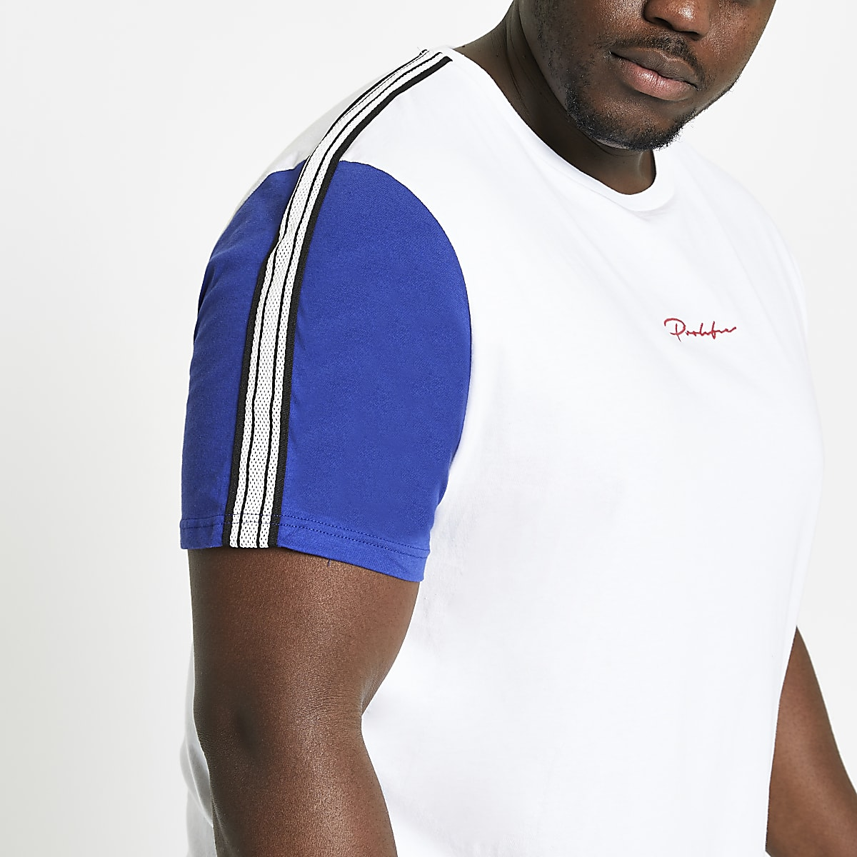 Big and Tall - Prolific - Wit T-shirt met biezen