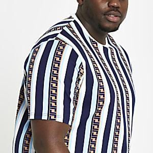Big & Tall – Blaues Slim Fit T-Shirt mit Streifen