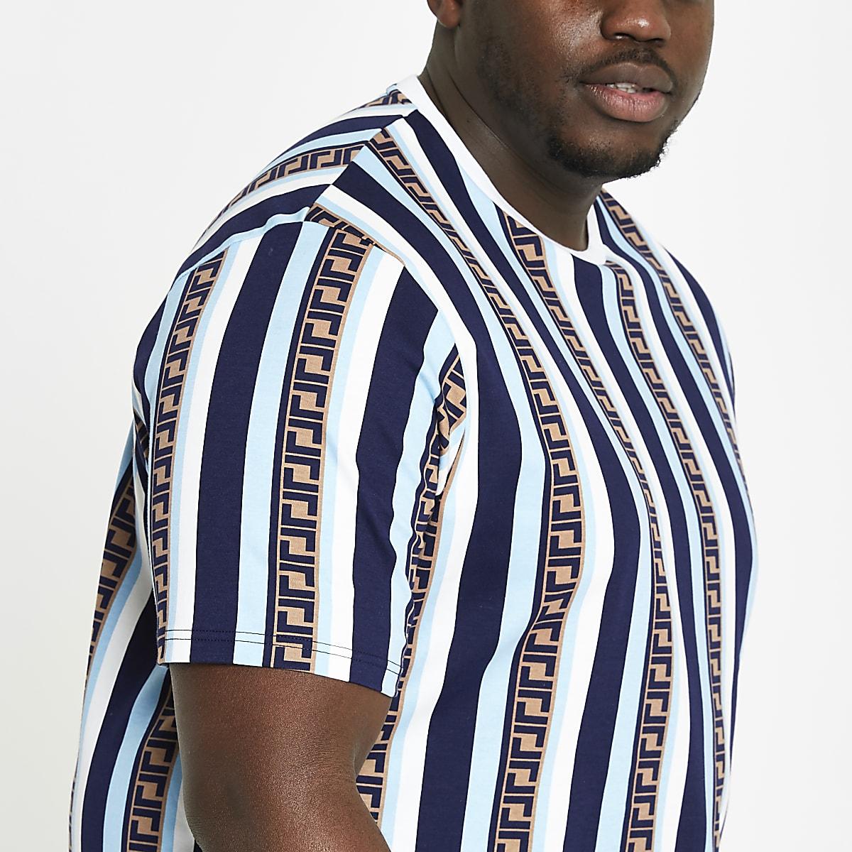 Big and Tall – T-shirt slim rayé bleu