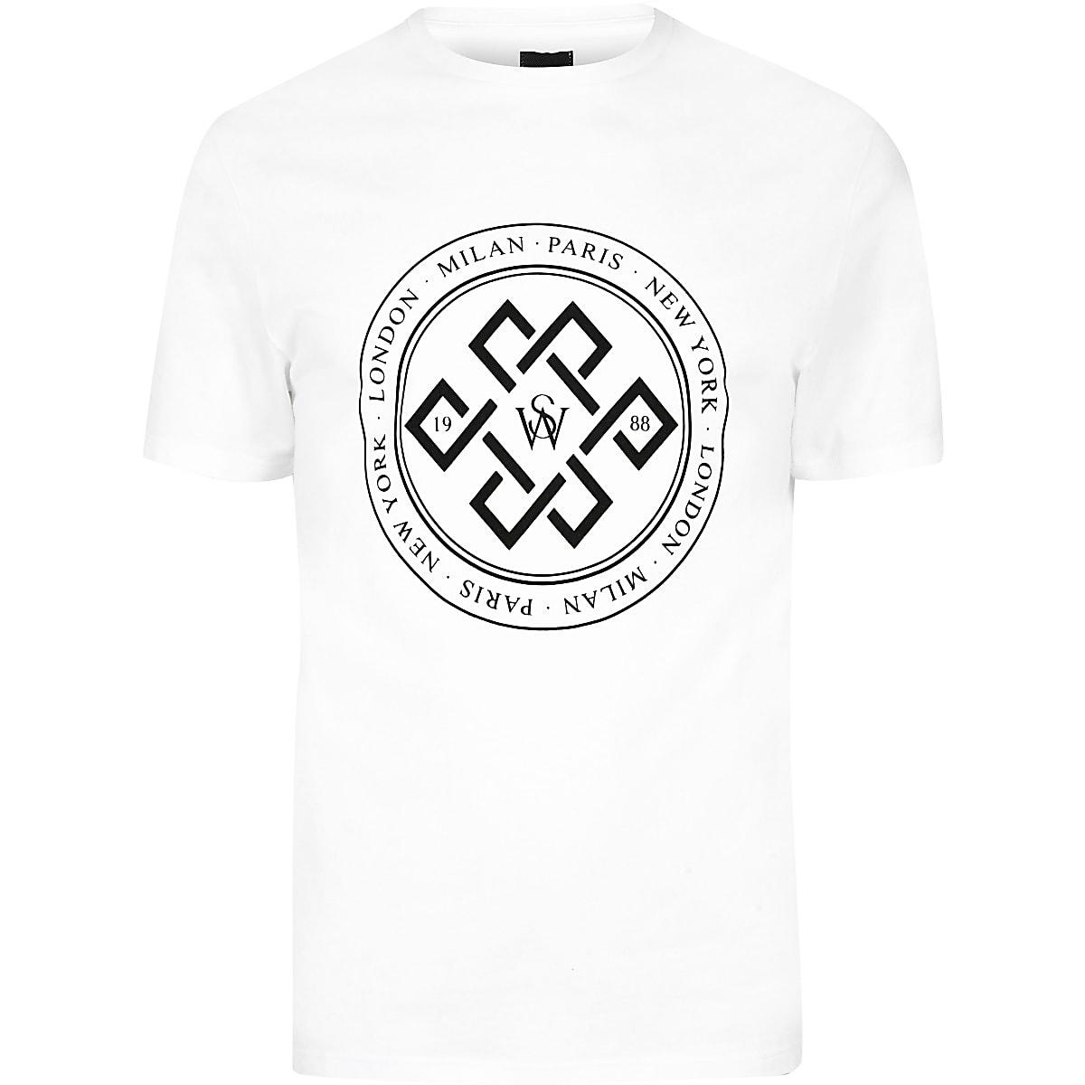 Big and Tall – T-shirt slim blanc floqué
