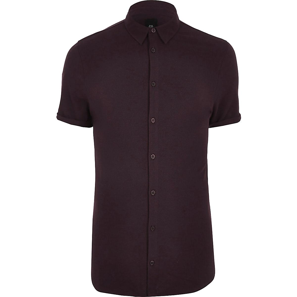 Big and Tall - Rood piqué overhemd met korte mouwen