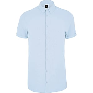 Big and Tall – Chemise ajustée en piqué bleue
