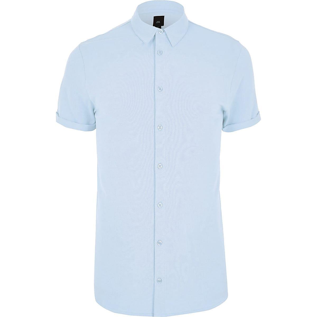 Big and Tall - Blauw piqué overhemd met korte mouwen