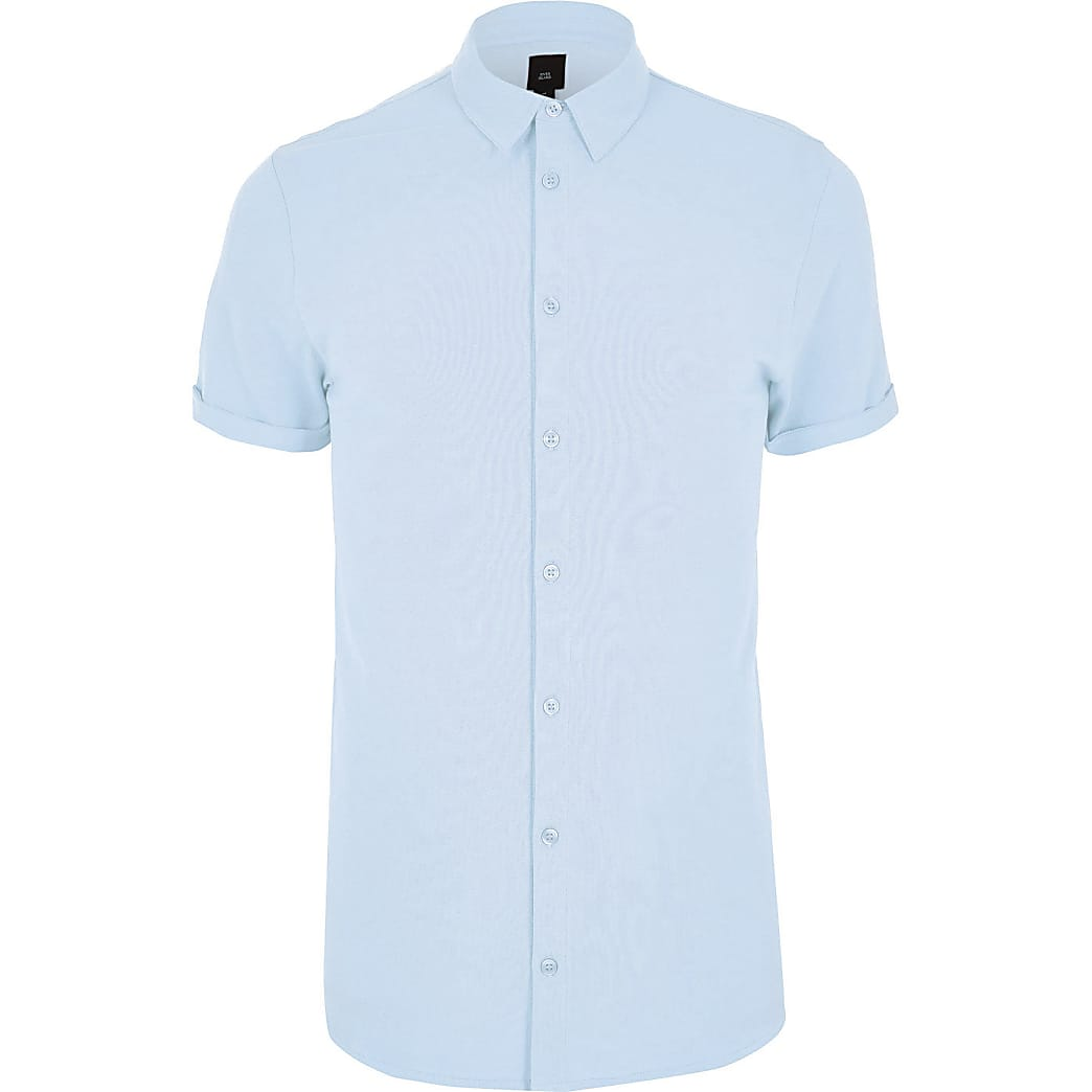 Big and Tall blue pique short sleeve shirt