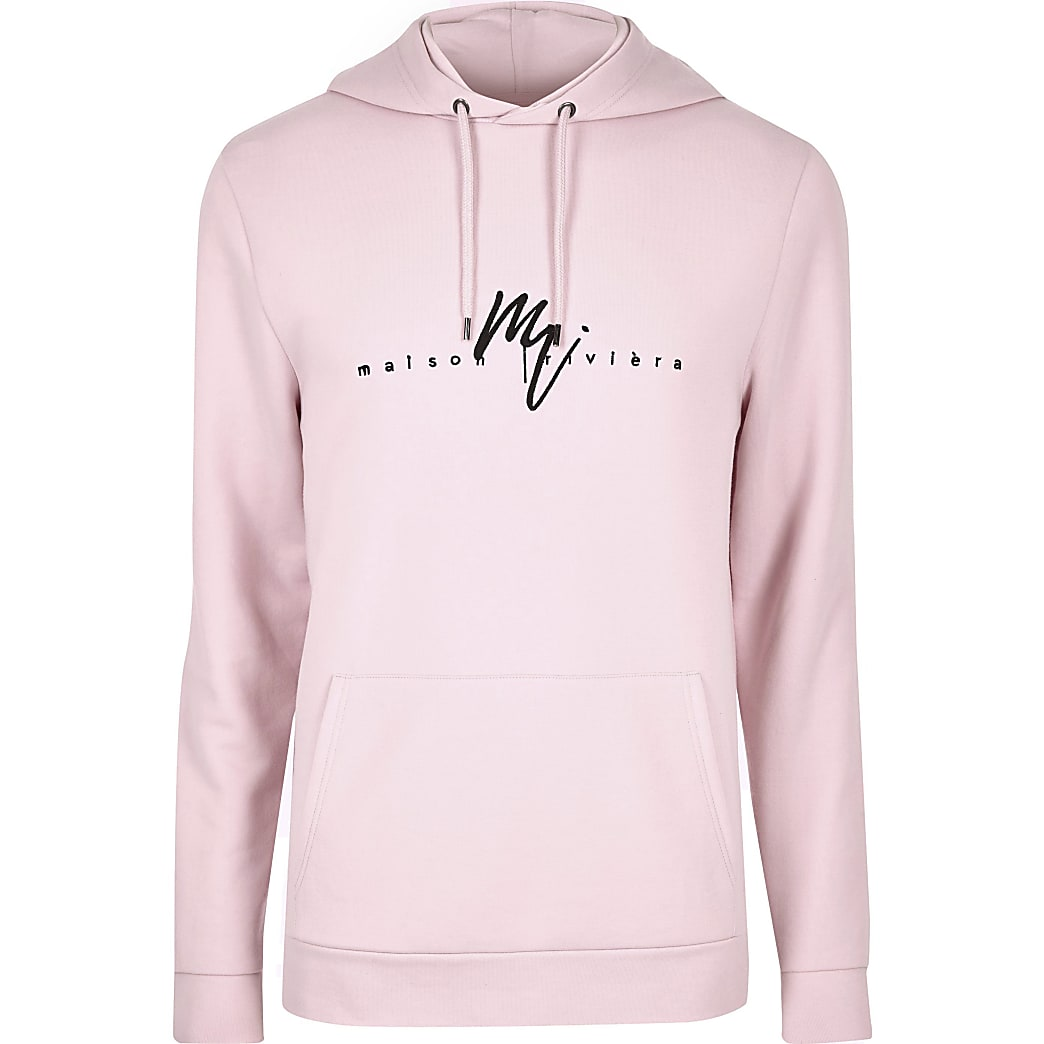 Big and Tall pink Maison Riviera hoodie