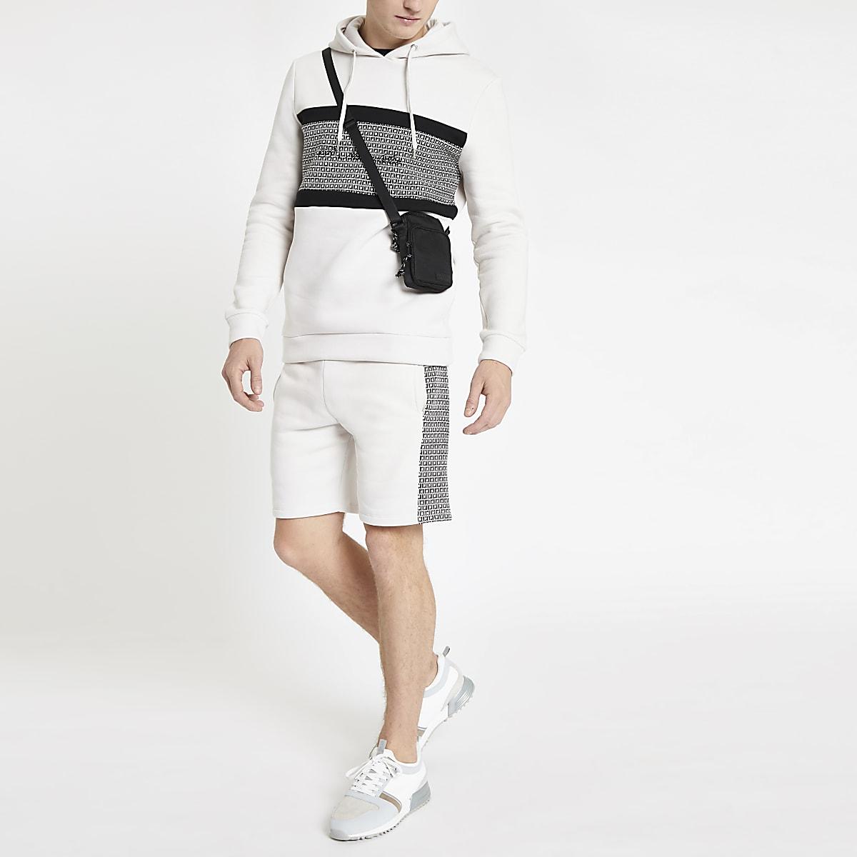 Stone R96 RI monogram slim fit hoodie