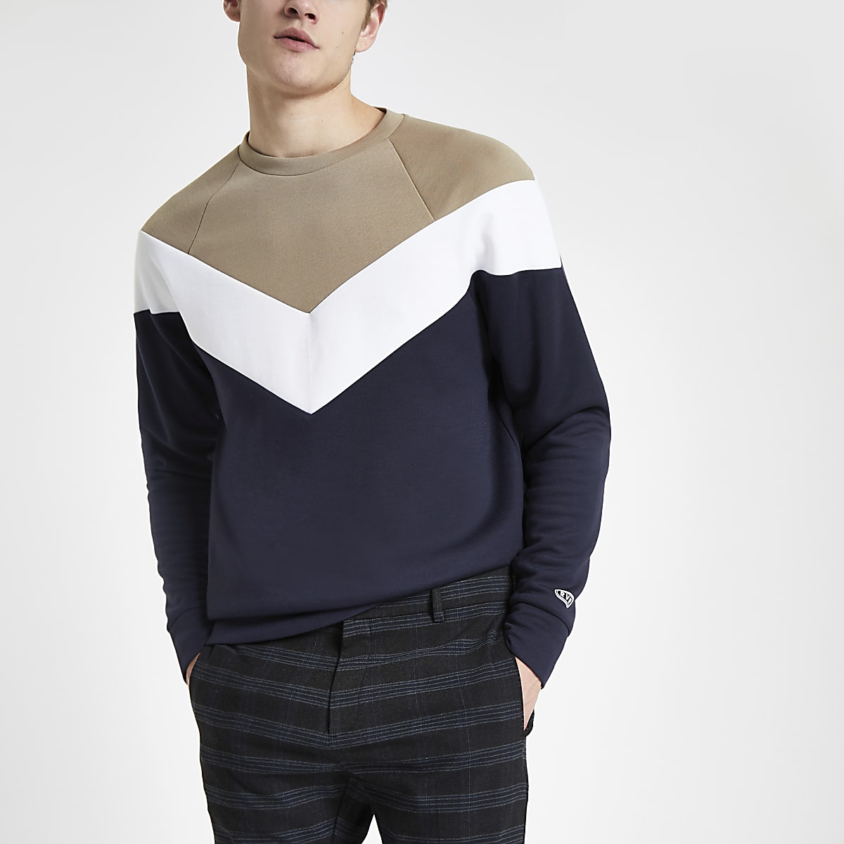 Stone colour block slim fit sweatshirt