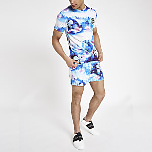 Hype – T-shirt à fleurs bleu