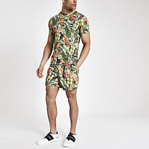Hype – Grünes T-Shirt mit tropischem Print